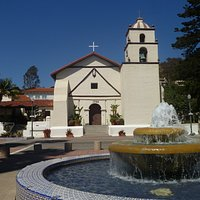 Fountain and Exterior of the Mission.
