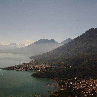 Lake Atitlan seen above San Juan La Laguna with Toliman, Atitlan and San Pedro Volcanoes