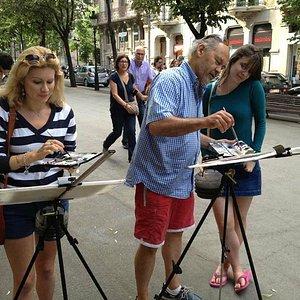 Painting on the Rambla de Catalunya with Christina and Sarah