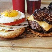 Bison burger, egg, duck liver....
