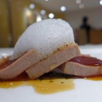 """Red Tuna on a Lentil Stew """"Beluga"""" veil of Bacon , Wakame seaweed and Sea air."""