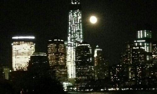 Freedom Tower and harvest moon 2013