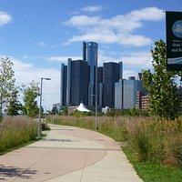 View of Renaissance Center from the Detroit Riverwalk