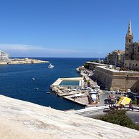 View from the roof of Fort Tigne & Valletta