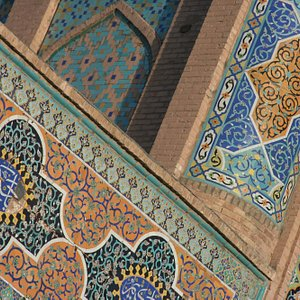 Blue and orange tiles of the Herat Friday Mosque