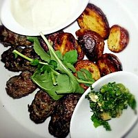 Beef kebab and roasted potates