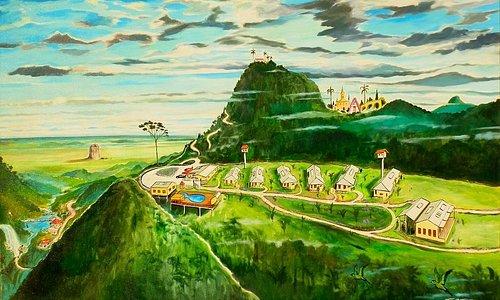 Essa pintura em tela com a vista panorâmica do hotel Val da Núvens foi feita durante minha visit