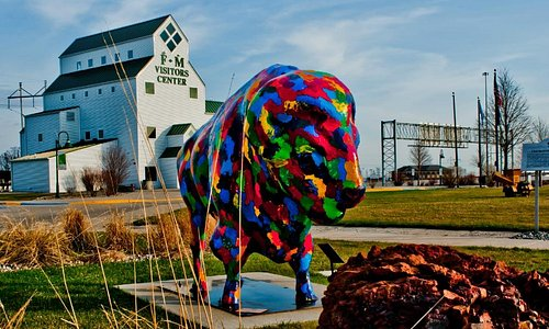 The Fargo-Moorhead Visitors Center is home to Aunie, the painted buffalo.