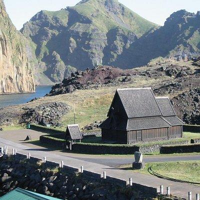 Church at entrance to harbor
