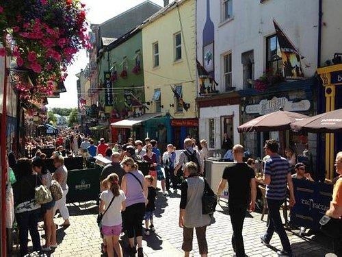 Pedestrianized streets of the Latin Quarter Galway