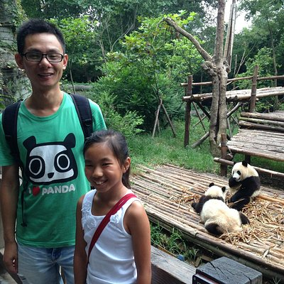 Haba and our daughter at the Panda Reserve, Chengdu