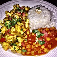 Blue crab special with basmati rice and chic peas