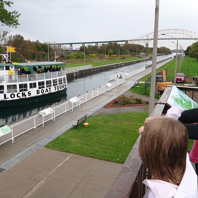 soo locks tour boat goes through locks