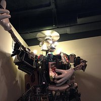 Giant dude made out of electrical appliances