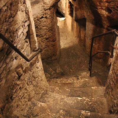steep staircase leads to the center chamber