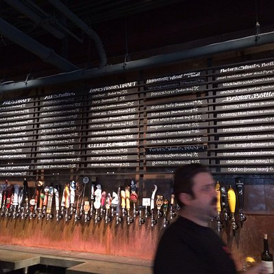 Ridiculous number of local craft beers on tap.