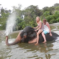 Elephant bath after trekking.