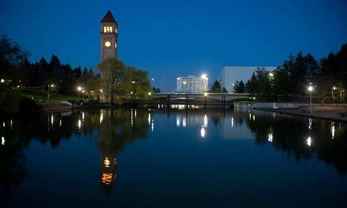 Clock Tower and Convention Center along the Spokane River
