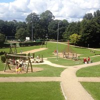 Play equipment in the heart of this inviting park.