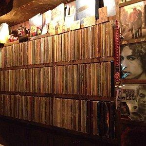 wall of vinyl at Woodstock Music Bar