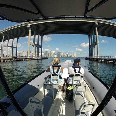 Rickenbacker Bridge and Downtown Miami