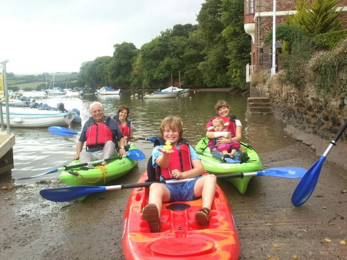 Family group at quayside in Stoke Gabriel