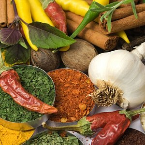 Various colourful spices and herbs