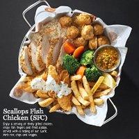 Scallop fish chicken