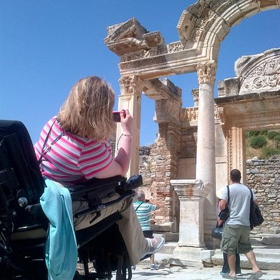 Temple of Hadrian, Ephesus with an electric wheelchair