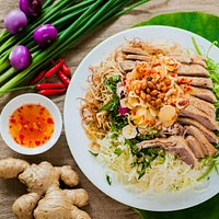 Boiled duck with cabbage salad