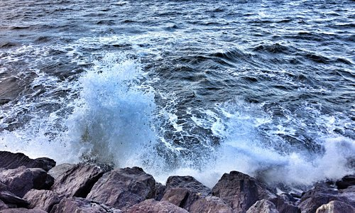 High tide, windy day...