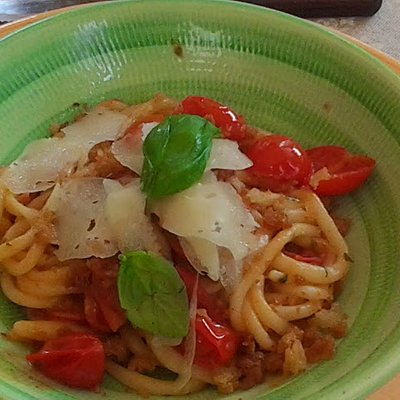 home made pasta with cherry tomatoes