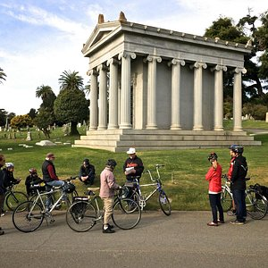 At George Hearst's mausoleum in Cypress Lawn cemetery, Colma.