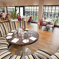 pitchside restaurant has views out to the pitch at stadium:mk