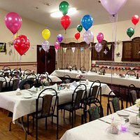 Front room prepared for 75th birthday celebration