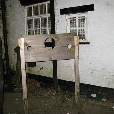 Newly made stocks outside 'prison' entrance!