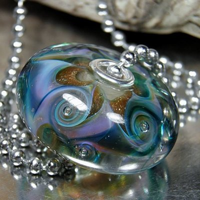 Beautiful Silver Riveted Handmade Glass Bead
