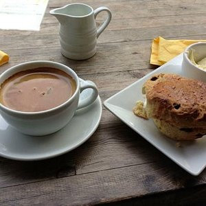 perfect coffee and a warm scone