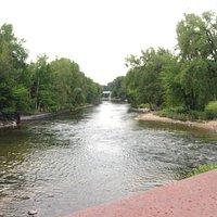 Over look of Muskegon River from River Walk Bridge
