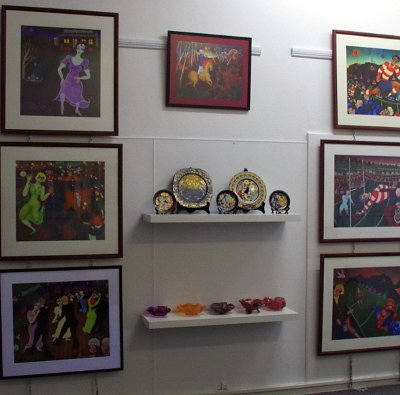 A selection of limited edition prints and fine glass.