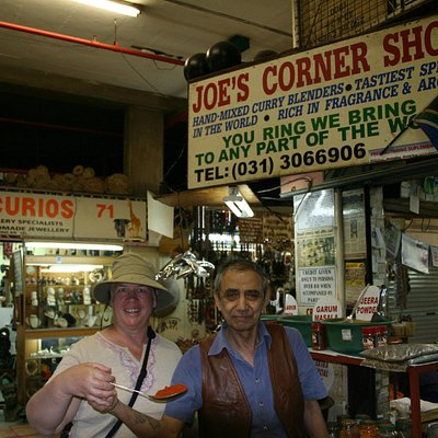 Joe's corner spice shop.  Joe with my wife Dona