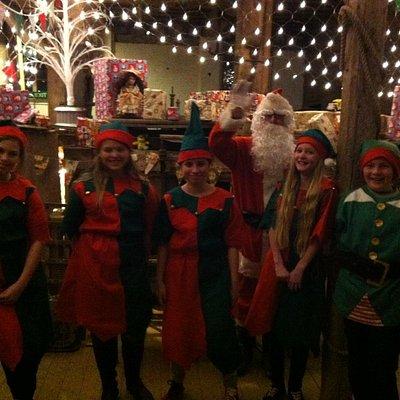 Santa & his elves in the workshop