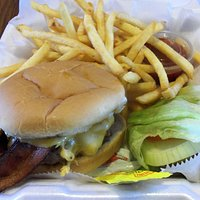 Bacon cheeseburger and fries at Maple Park Pub & Grill