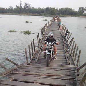 crossing  floating bridge