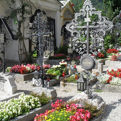 Graves planted with flowers