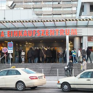 Entrance of Olympia Einkaufszentrum by a hord of Vikings