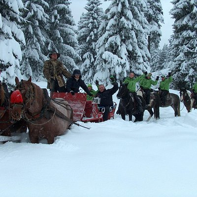 Sleigh riders and horse riders on the same trip.