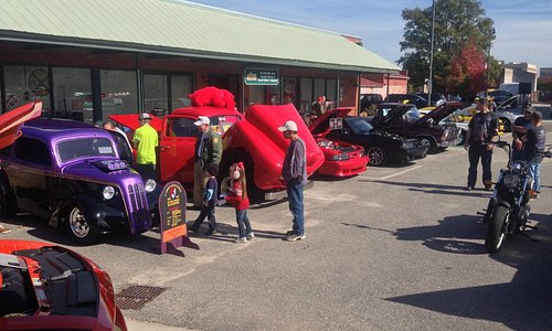 Outside during a car show