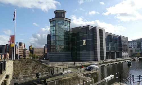 Royal Armouries Museum building at Clarence Dock, on the Leeds and Liverpool Canal