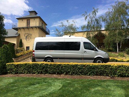 Our comfortable Mercedes bus at Centennial Vineyard.
